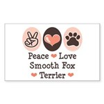 Peace Love Smooth Fox Terrier Sticker (Rectangular