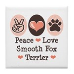 Peace Love Smooth Fox Terrier Tile Coaster