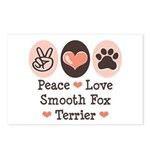 Peace Love Smooth Fox Terrier Postcards (Package o