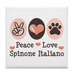 Peace Love Spinone Italiano Tile Coaster