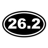 26.2 Marathon Running Black Euro Oval Bumper Stickers