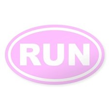 RUN Running Pink Euro Oval Decal