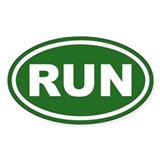 RUN Running Green Euro Oval Decal