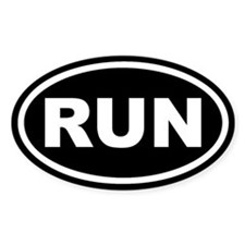 RUN Running Black Euro Oval Decal