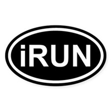 iRUN I RUN Black Euro Oval Decal
