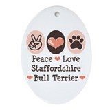 Peace Love Stafford Bull Terrier Oval Ornament