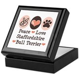 Peace Love Stafford Bull Terrier Keepsake Box