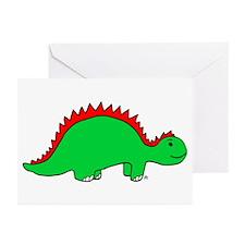 Smiling Green Stegosaurus Greeting Cards (Pk of 20