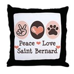 Peace Love Saint Bernard Throw Pillow