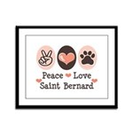 Peace Love Saint Bernard Framed Panel Print