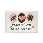 Peace Love Saint Bernard Rectangle Magnet