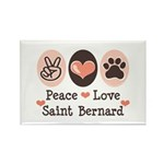Peace Love Saint Bernard Rectangle Magnet (10 pack