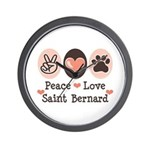 Peace Love Saint Bernard Wall Clock