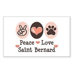 Peace Love Saint Bernard Rectangle Sticker