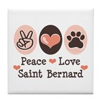 Peace Love Saint Bernard Tile Coaster
