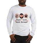 Peace Love Saint Bernard Long Sleeve T-Shirt