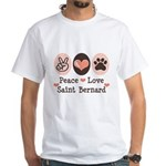Peace Love Saint Bernard White T-Shirt