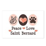 Peace Love Saint Bernard Postcards (Package of 8)