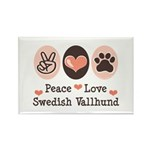 Peace Love Swedish Vallhund Rectangle Magnet