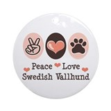 Peace Love Swedish Vallhund Ornament (Round)