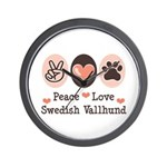 Peace Love Swedish Vallhund Wall Clock