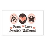 Peace Love Swedish Vallhund Rectangle Sticker