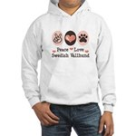Peace Love Swedish Vallhund Hooded Sweatshirt