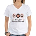 Peace Love Swedish Vallhund Women's V-Neck T-Shirt