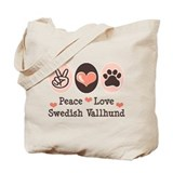 Peace Love Swedish Vallhund Tote Bag
