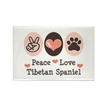 Peace Love Tibetan Spaniel Rectangle Magnet (10 pa