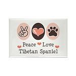 Peace Love Tibetan Spaniel Rectangle Magnet (100 p