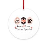 Peace Love Tibetan Spaniel Ornament (Round)