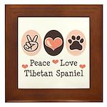 Peace Love Tibetan Spaniel Framed Tile