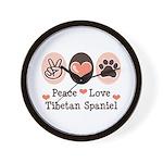 Peace Love Tibetan Spaniel Wall Clock