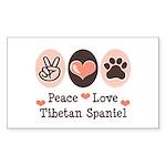 Peace Love Tibetan Spaniel Rectangle Sticker