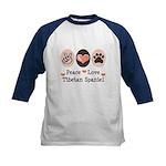 Peace Love Tibetan Spaniel Kids Baseball Jersey