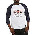 Peace Love Tibetan Spaniel Baseball Jersey