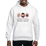 Peace Love Tibetan Spaniel Hooded Sweatshirt