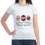 Peace Love Tibetan Spaniel Jr. Ringer T-Shirt