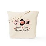 Peace Love Tibetan Spaniel Tote Bag