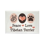 Peace Love Tibetan Terrier Rectangle Magnet (100 p