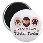 Peace Love Tibetan Terrier Magnet