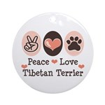 Peace Love Tibetan Terrier Ornament (Round)