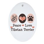 Peace Love Tibetan Terrier Oval Ornament