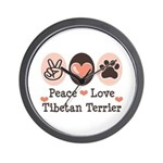 Peace Love Tibetan Terrier Wall Clock