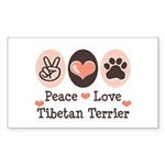 Peace Love Tibetan Terrier Rectangle Sticker