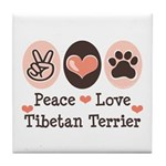 Peace Love Tibetan Terrier Tile Coaster