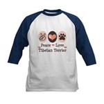 Peace Love Tibetan Terrier Kids Baseball Jersey