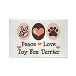 Peace Love Toy Fox Terrier Rectangle Magnet (10 pa