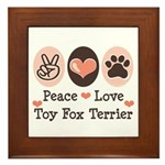 Peace Love Toy Fox Terrier Framed Tile